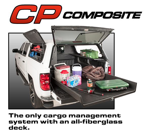 all fiberglass cargo management system slide by Loadmaster storing camping equipment