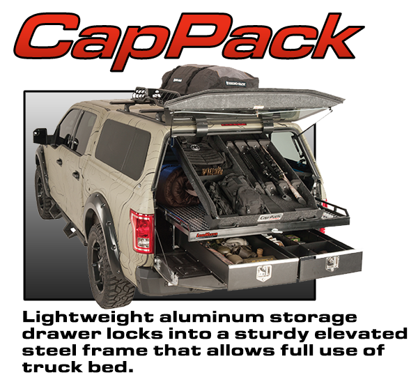 Loadmaster aluminum storage drawer with elevated steel Frame hauling hunting equipment