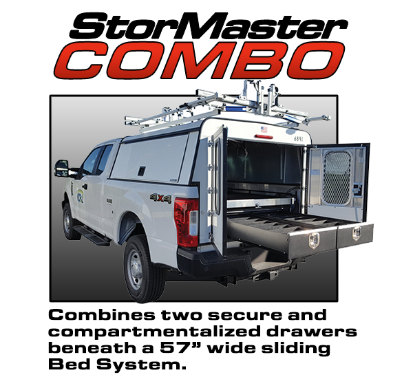 Combo cargo management system with drawers and a sliding bed system