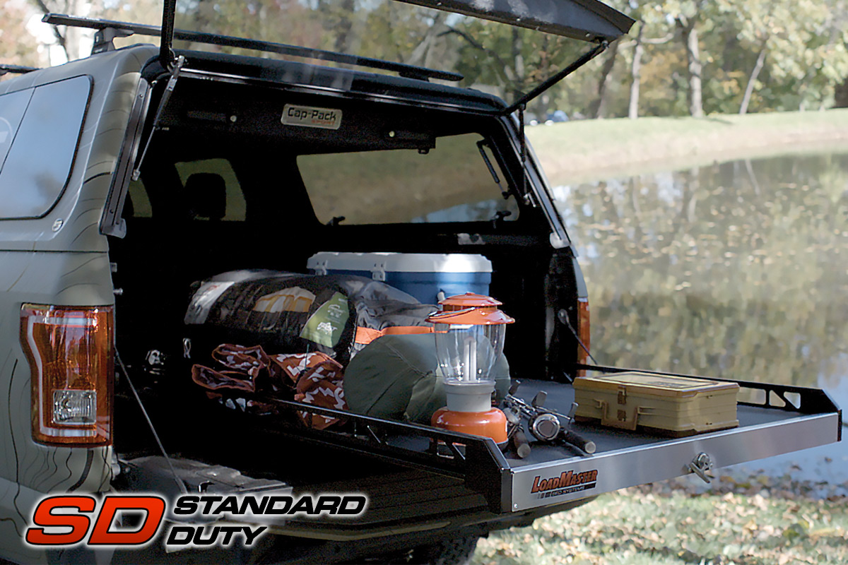 Loadmaster cargo slide with camping equipment