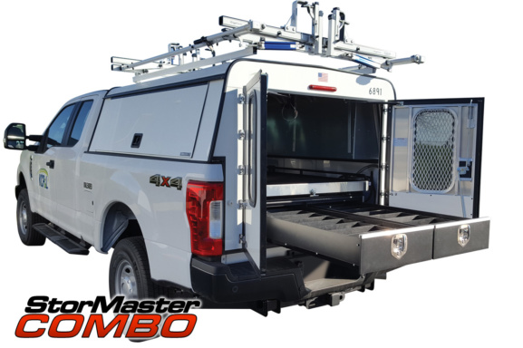 Stormaster combo cargo management system on a commercial pickup truck