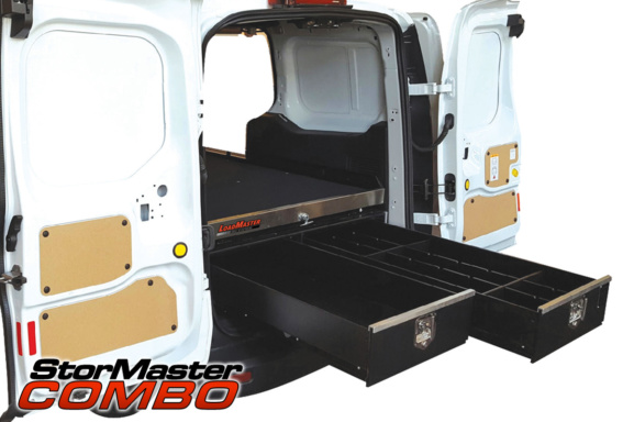 dual long drawers in the back of a commercial van using the loadmsaster combo storage