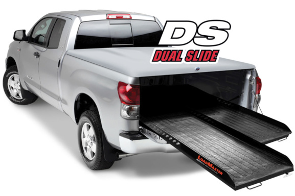 silver pickup truck with dual side by side cargo slides by loadmaster